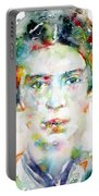 Emily Dickinson - Watercolor Portrait Portable Battery Charger