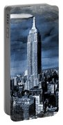 Empire State Building Blimp Docking Blue Portable Battery Charger