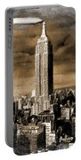 Empire State Building Blimp Docking Sepia Portable Battery Charger