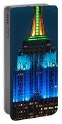 Empire State Building Lit Up At Night Portable Battery Charger