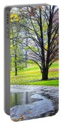 Empty Walkway On A Beautiful Rainy Autumn Day Portable Battery Charger