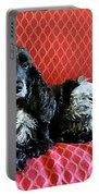 English Cocker Spaniel On Red Sofa Portable Battery Charger by Catherine Sherman