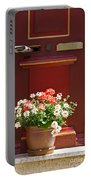Entrance Door With Flowers Portable Battery Charger by Heiko Koehrer-Wagner