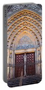 Entrance To The Barcelona Cathedral At Night Portable Battery Charger