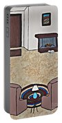 Essence Of Home - Black And White Cat In Living Room Portable Battery Charger