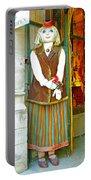Estonian Greeter In Old Town Tallinn-estonia Portable Battery Charger