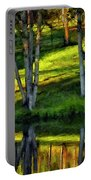 Evening Birches Painted Portable Battery Charger