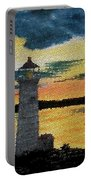 Evening Lighthouse In Stained Glass Portable Battery Charger