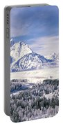 Evergreen Trees On A Snow Covered Portable Battery Charger