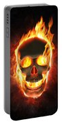 Evil Skull In Flames And Smoke Portable Battery Charger