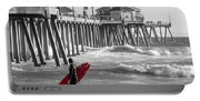 Existential Surfing At Huntington Beach Selective Color Portable Battery Charger
