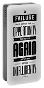 Failure Is Simply The Opportunity Henry Ford Success Quotes Poster Portable Battery Charger