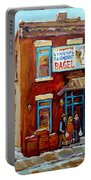 Fairmount Bagel In Winter Montreal City Scene Portable Battery Charger by Carole Spandau