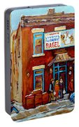 Fairmount Bagel In Winter Montreal City Scene Portable Battery Charger