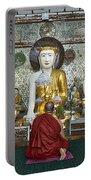 faithful Buddhist monk praying at Buddha Statues in SHWEDAGON PAGODA Portable Battery Charger