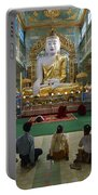 faithful Buddhists praying at sitting Buddha in golden Ponnya Shin Pagoda Portable Battery Charger