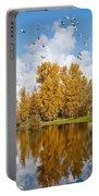 Fall Colors Clouds And Western Gulls Reflected In A Pond Portable Battery Charger