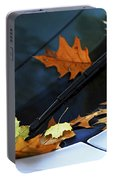 Fall Leaves On A Car Portable Battery Charger