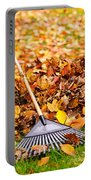 Fall Leaves With Rake Portable Battery Charger