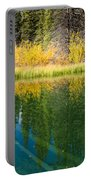 Fall Sky Mirrored On Calm Clear Taiga Wetland Pond Portable Battery Charger