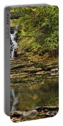 Fall Waterfall Creek Reflection Portable Battery Charger by Christina Rollo