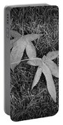Fallen Autumn Leaves In The Grass During Morning Frost Portable Battery Charger