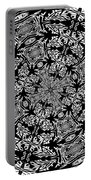 Fallen Leaves Black And White Kaleidoscope Portable Battery Charger