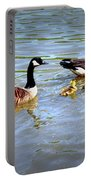 Family Of Geese Out For A Swim Portable Battery Charger