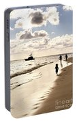 Family On Sunset Beach Portable Battery Charger