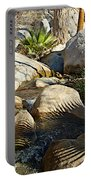 Fan Palm Leaves And Shadows Over Andreas Creek Rocks In Indian Canyons-ca Portable Battery Charger