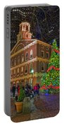 Faneuil Hall Night Portable Battery Charger by Joann Vitali