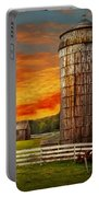 Farm - Barn - Welcome To The Farm  Portable Battery Charger by Mike Savad
