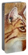 Farm Cat On Rustic Wood Portable Battery Charger