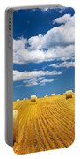 Farm Field With Hay Bales Portable Battery Charger