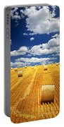 Farm Field With Hay Bales In Saskatchewan Portable Battery Charger