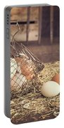 Farm Fresh Eggs Portable Battery Charger by Edward Fielding