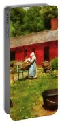 Farm - Laundry - Old School Laundry Portable Battery Charger by Mike Savad