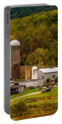 Farm View With Mountains Landscape Portable Battery Charger