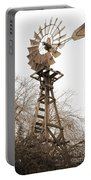 Farm Windmill In Sepia Portable Battery Charger