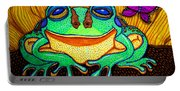 Fat Green Frog On A Sunflower Portable Battery Charger