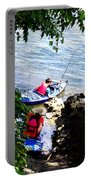 Father And Son Launching Kayaks Portable Battery Charger