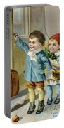 Father Christmas Disembarking Train Portable Battery Charger by Mary Evans