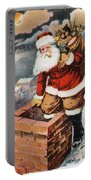 Father Christmas Popping Down The Chimney To Deliver Gifts To The Good.  Portable Battery Charger