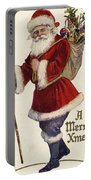 Father Christmas With A Bag Of Toys Portable Battery Charger