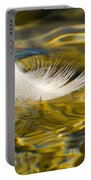 Feather On Golden Water Portable Battery Charger