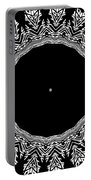 Feathers And Circles Kaleidoscope In Black And White Portable Battery Charger