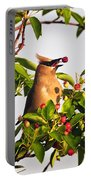 Feeding Cedar Waxwing Portable Battery Charger