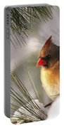 Female Cardinal Nestled In Snow Portable Battery Charger
