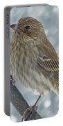 Female House Finch In Snow 1 Portable Battery Charger