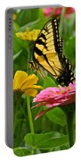 Female Tiger Swallowtail Butterfly With Pink And Yellow Zinnias Portable Battery Charger